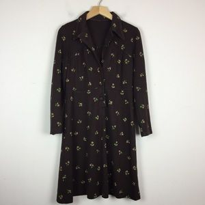 Vintage 70s shirtdress brown floral midi Italy